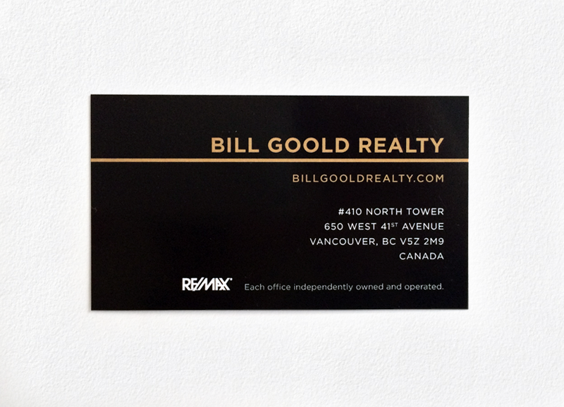 Remax bill goold realty shanghai business card creative minc the final business card was printed at met fine printers with the intention of creating the highest quality offset printing product with spot glossed reheart Images